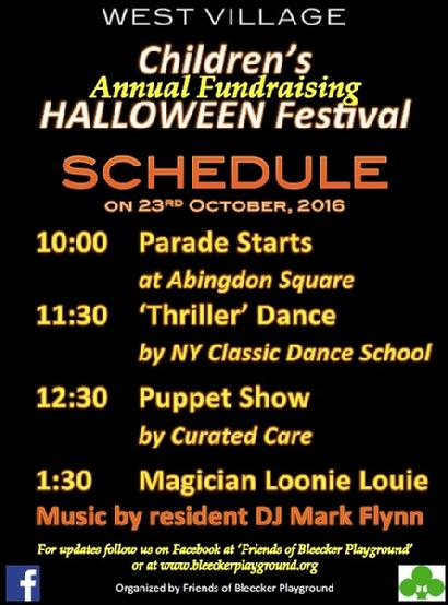 bleecker playground halloween annual fundraising festival is on sunday 23rd october from 10am to 4pm